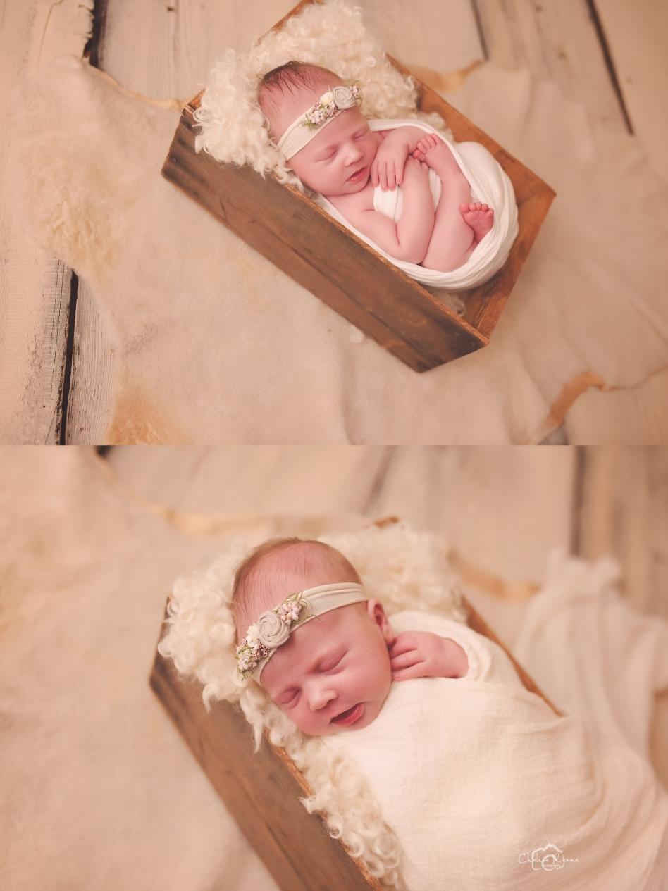 Newborn posed in wood box on cream