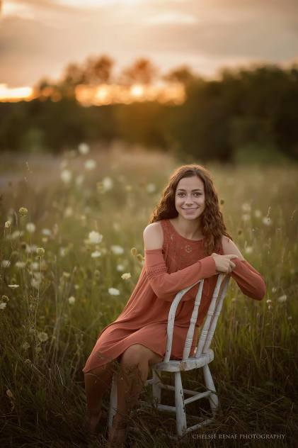 High School Senior Session Beautiful Girl Sitting in a Chair at Sunset